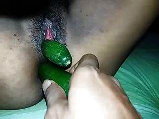 Sri Lanka Girl Fucked Both Holes Cucumber