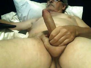 Grandpa Wanking Uncut Big Cock Cums