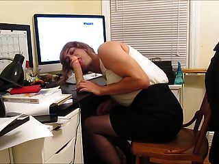 Sissy Sexretary Vickie Gags On Dildo