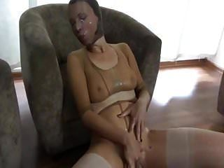 Nylon Encasement With Heavy Cum Play