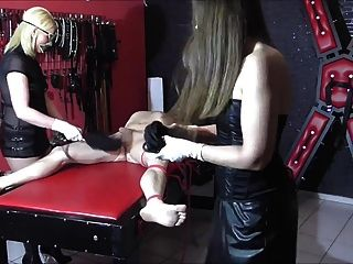 German Cock And Ball Torture With 2 Femdoms