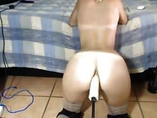 Sexy Ass Blond Getting Machine Fucked Big Dildo In Ass Pussy