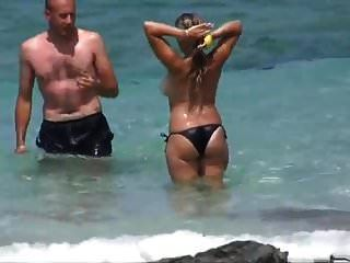 Tan Lines Big Boobs At Beach Black Bikini Topless