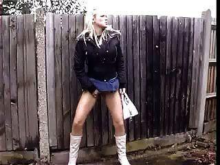 Hot Blonde Upskirt In Black Panties Peeing In Public Street