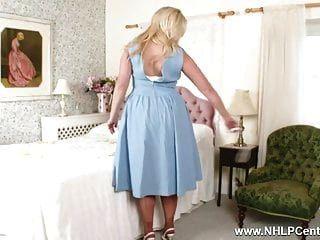 Buxom Blonde Anna Joy Toys Pussy Deep In Retro Garters Nylon